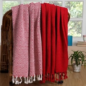 NEW Cotton All Season Throw Blankets Set of 2 Red